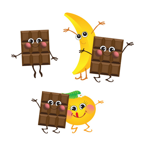 Chocolate, banana, orange, vector characters Illustration