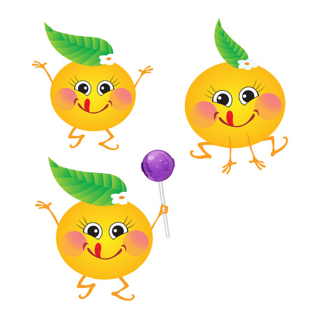 Orange, vector character on a white background.