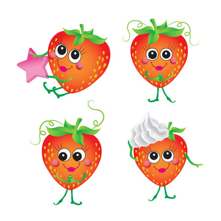 Strawberry, vector character on a white background