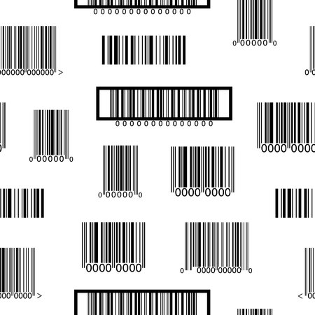Seamless black and white pattern with different barcodes.