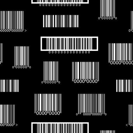 Seamless black and white pattern with barcodes