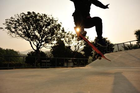 skateboard: skateboarding at sunrise skatepark