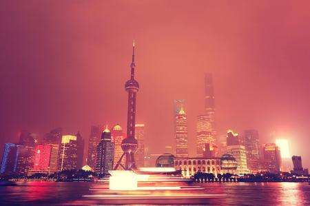 aisa: shanghai skyline at night Stock Photo