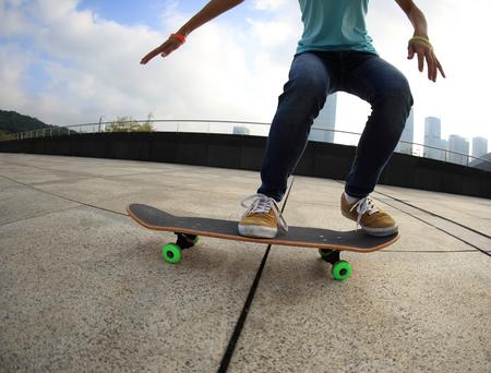 skateboard: skateboarder  skateboarding on city Stock Photo