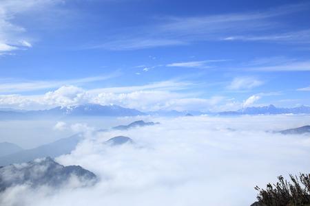 jokul: beautiful rolling clouds over mountain landscape