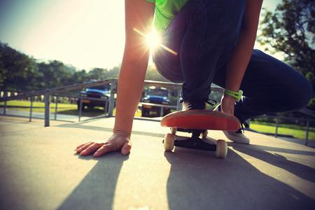 skateboard: skateboarder legs  at skatepark Stock Photo