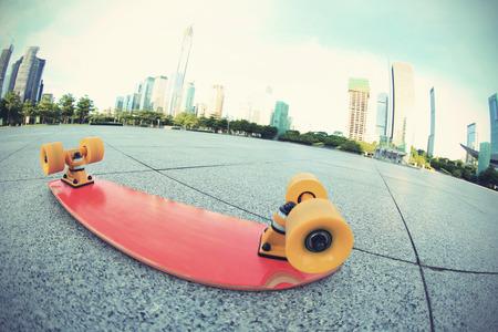 fish eye: skateboard on city,shot on fish eye