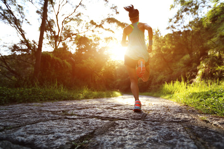 trail: Runner athlete running on forest trail. woman fitness jogging workout wellness concept.