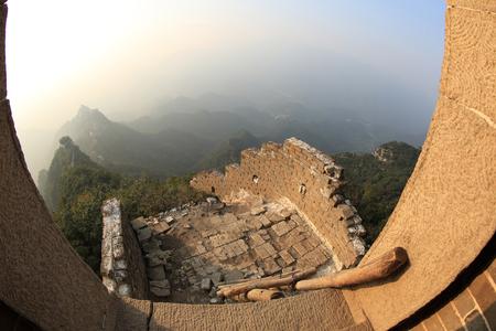 greatwall: sunset at great wall of china Stock Photo