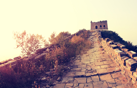 greatwall: sunset at great wall of china Stock Photo