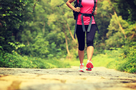 young fitness woman legs walking on forest trail 免版税图像