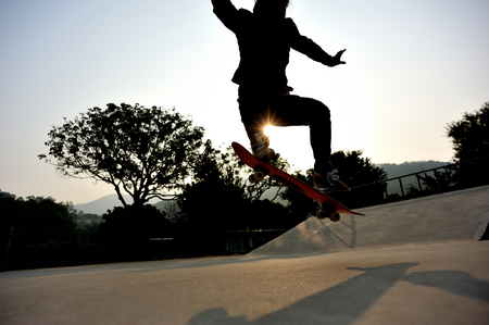 skateboard shoes: skateboarding at sunrise skatepark