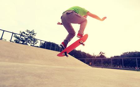 skateboard: skateboarding  at skatepark Stock Photo