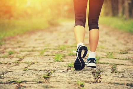 young fitness woman legs walking on forest trail Foto de archivo