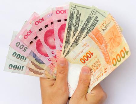 international money: Hands with international money