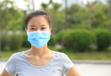eye protection: asian woman wear face mask in city