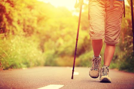 trekker: woman hiker hiking on forest trail