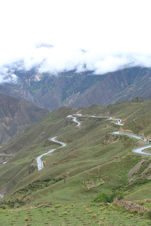 curving: curving nujiang River 72 turn road in tibet, china Stock Photo