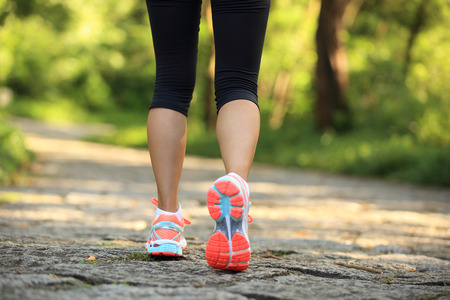 young fitness woman legs walking on forest trail Banco de Imagens