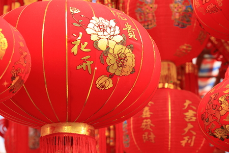 good wishes: chinese red lantern, words means: best wishes and good luck for the coming chinese new year