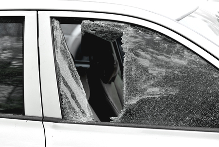 smashed: car window smashed by a thief