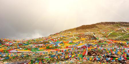 Buddhist tibetan prayer flags in tibet,china