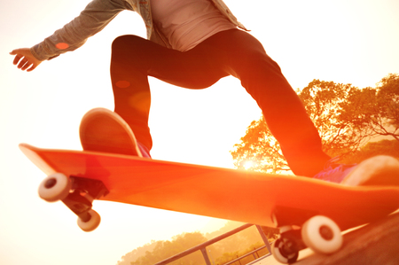 skateboard: skateboarding woman sunrise