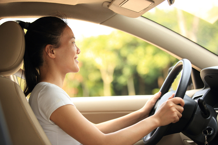 korean woman: woman driver driving a car Stock Photo