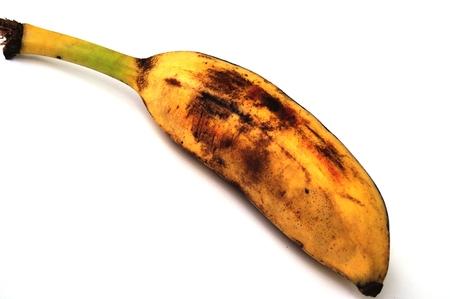overripe: overripe banana on white background