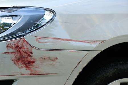 damaged: Damaged car closeup