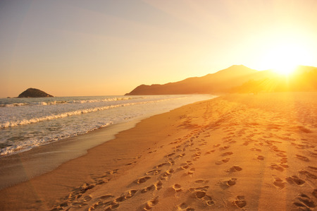 Sunset op het strand