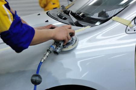 Car bodywork in workshop
