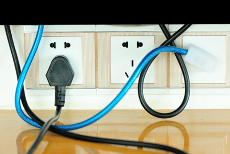 plug in: electrical cables and plug in Stock Photo