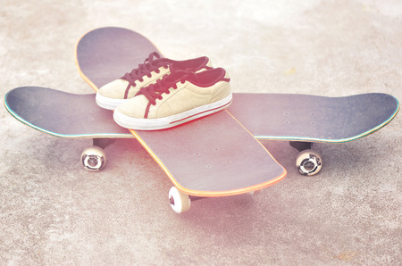 worn: worn sneakers on   skateboard