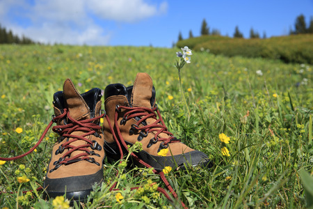 hiking boots on green grass Banco de Imagens - 61159002