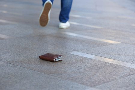 lost money: people lost leather wallet with money