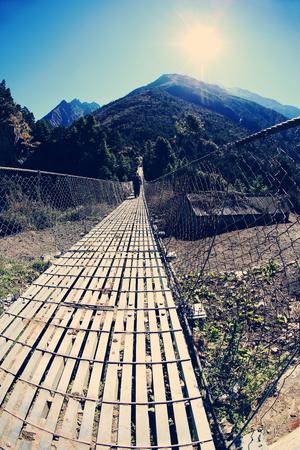 suspension bridge over the river in Sagarmatha National Park, Himalayas, Nepal