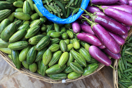 indian fair: fresh vegetables selling at the street shop Stock Photo