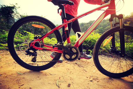 young woman riding mountain bike on forest trail Stock Photo