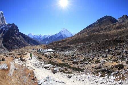 hospedaje: one porter walking on the way to everest base camp,nepal