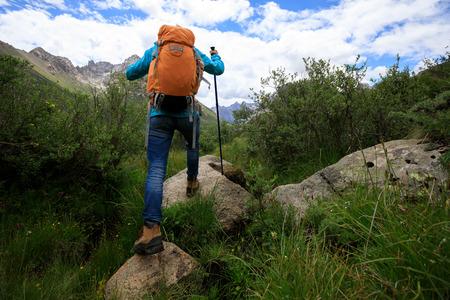 Randonneur femme avec sac à dos randonnée dans la nature photo