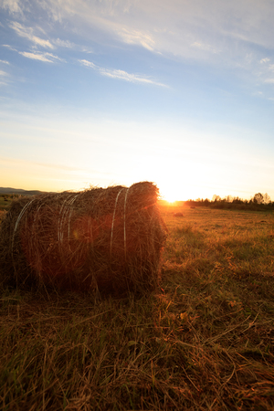haystack on farmland with blue cloudy sunset sky