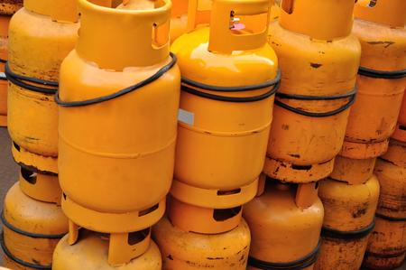 close up of yellow gas Propane tanks  Stock Photo