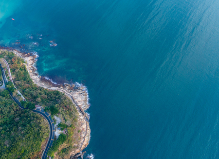 looking down from drone aerial view of the coastline