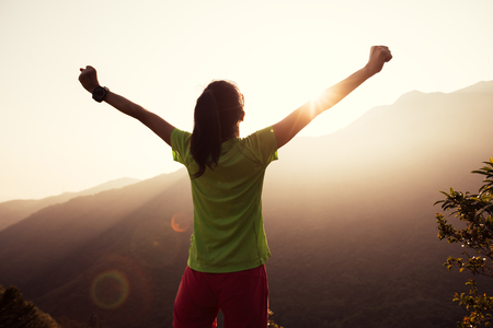 successful woman raised arms to summer sunrise on mountain top Banco de Imagens
