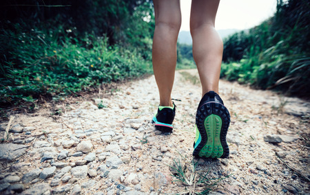 young fitness woman trail runner legs running on forest 版權商用圖片