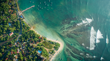 Aerial view of  seascape with fisherman village in sri lanka