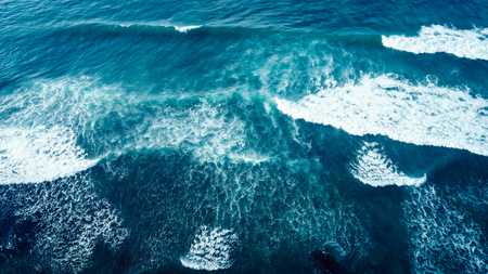 Aerial drone view of beautiful sea wave surface