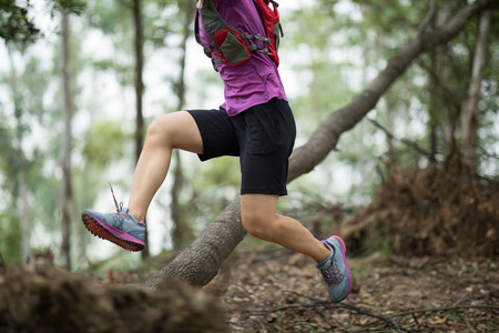 Sportswoman cross country trail running in forest Stockfoto