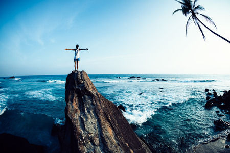 Successful woman outstretched arms on seaside rock cliff edge 免版税图像